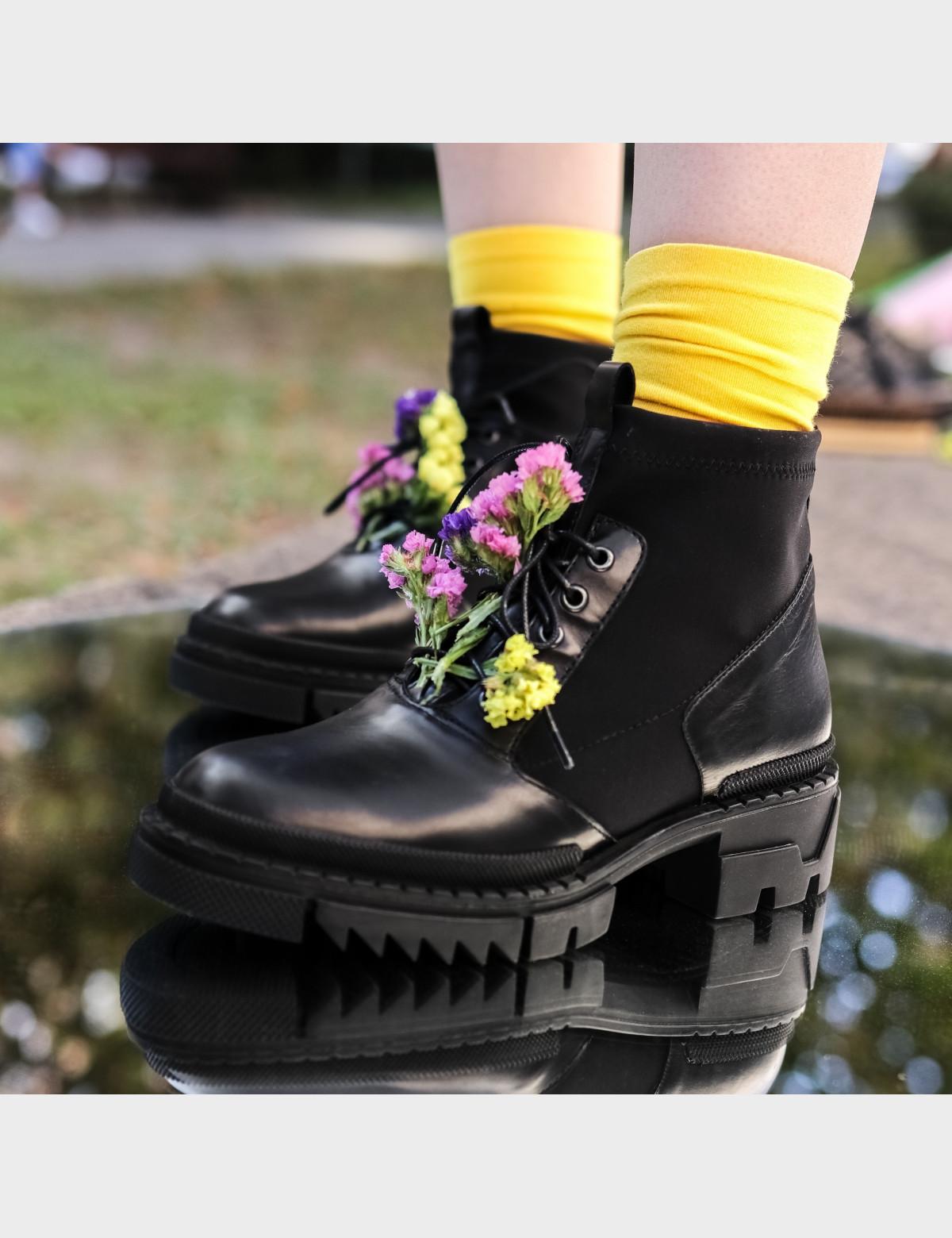 Ботинки черные, натуральная кожа/стрейч. Байка6