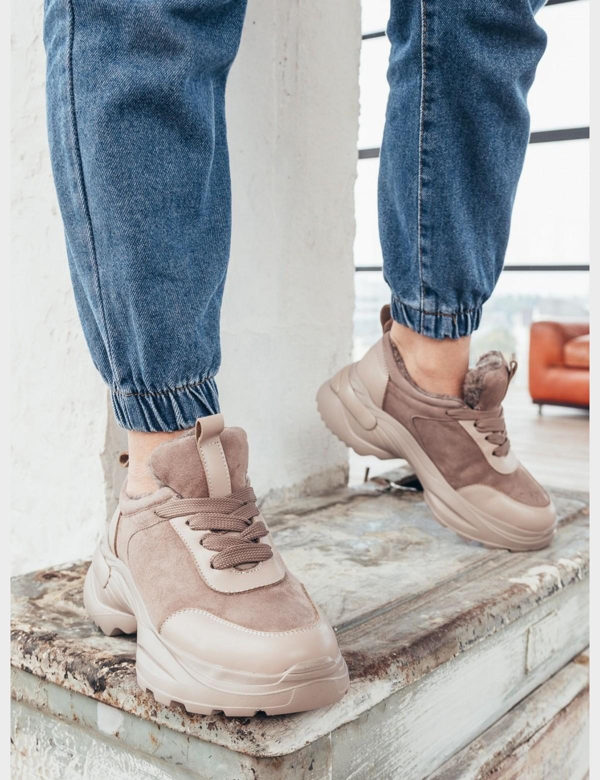 Кросівки бежеві. Натуральна замша/шкіра. Вовна5