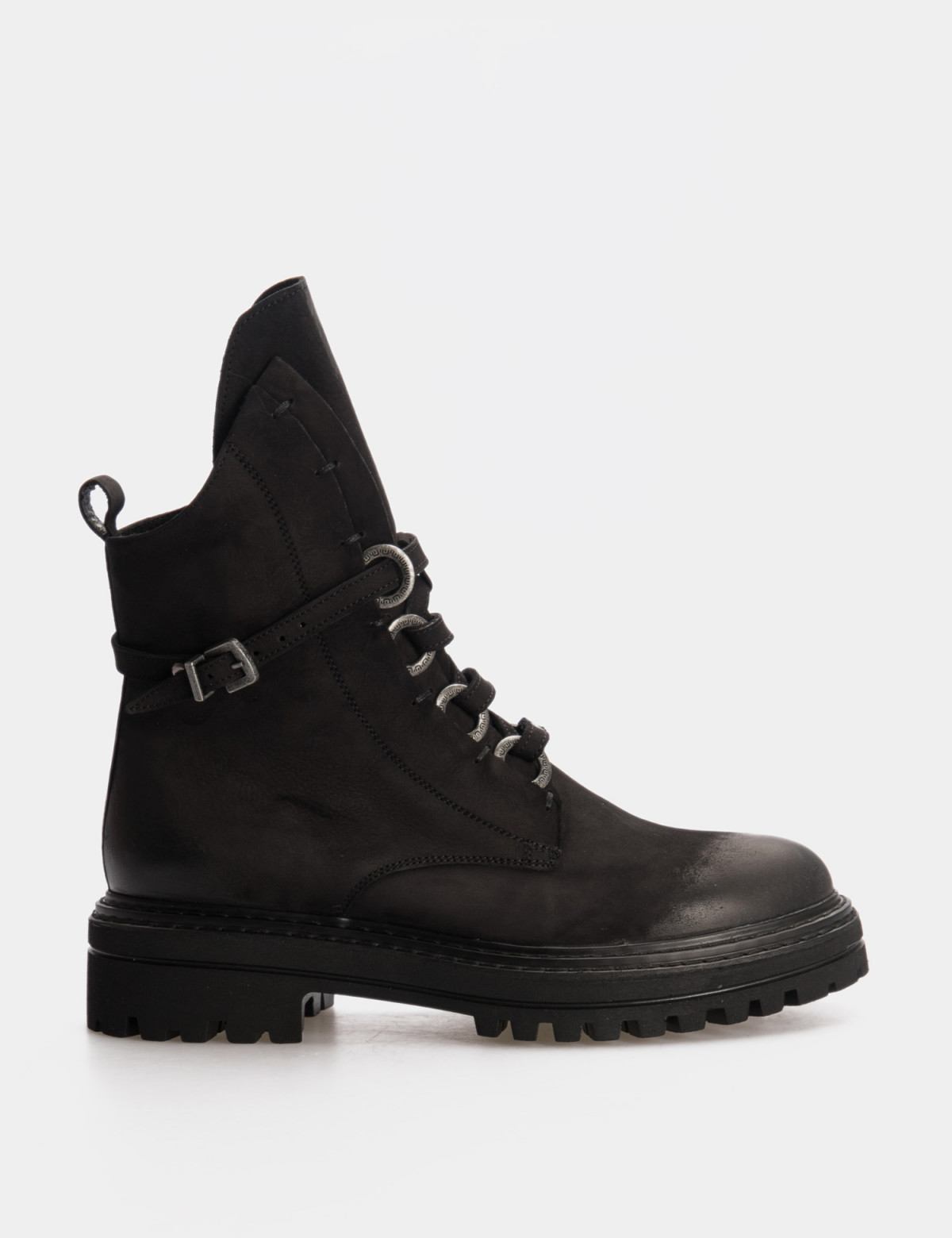 Ботинки черные. Натуральный нубук. Байка