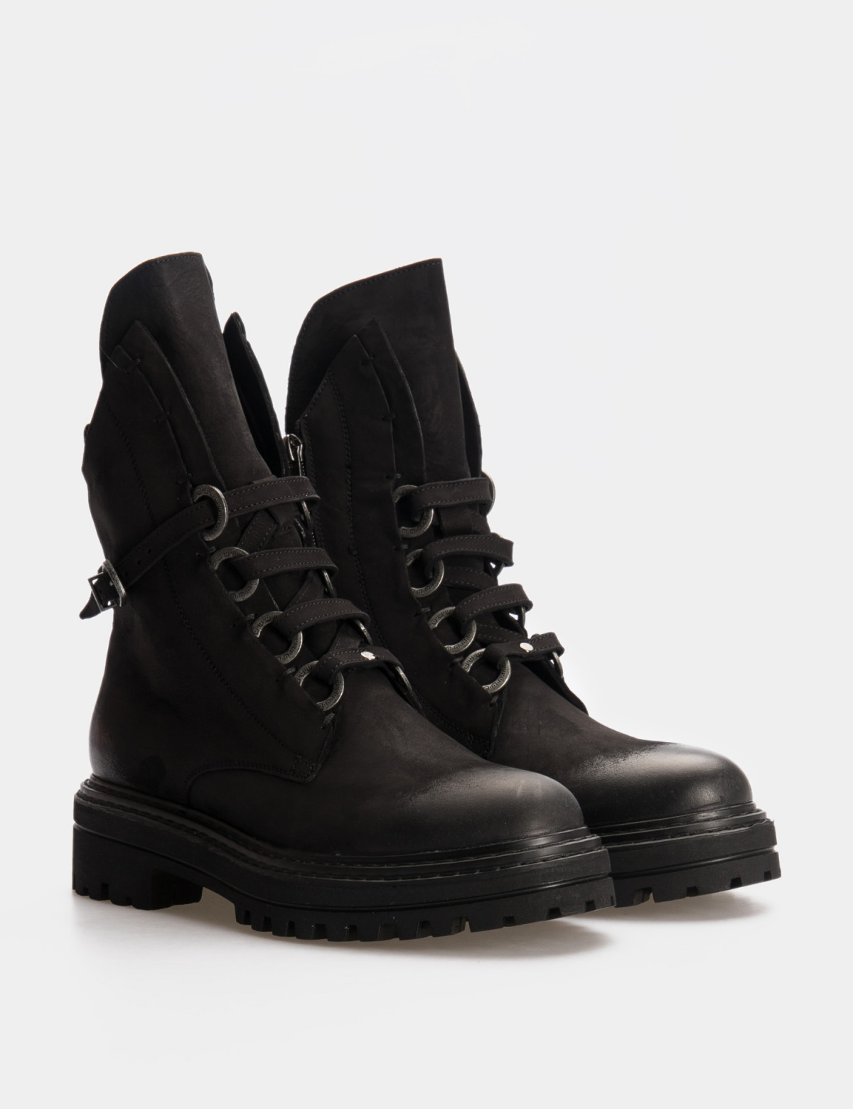 Ботинки черные. Натуральный нубук. Байка1