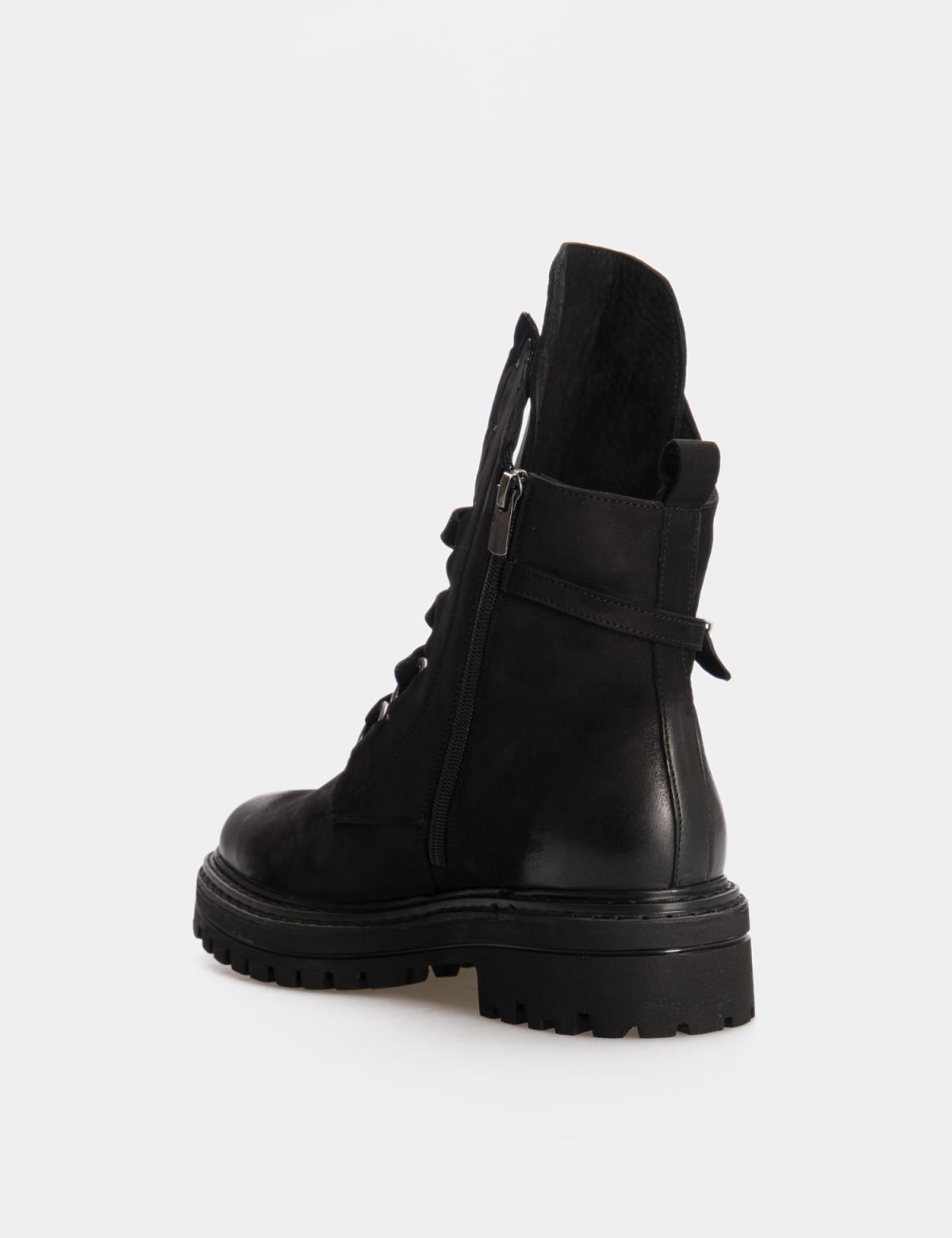 Ботинки черные. Натуральный нубук. Байка2