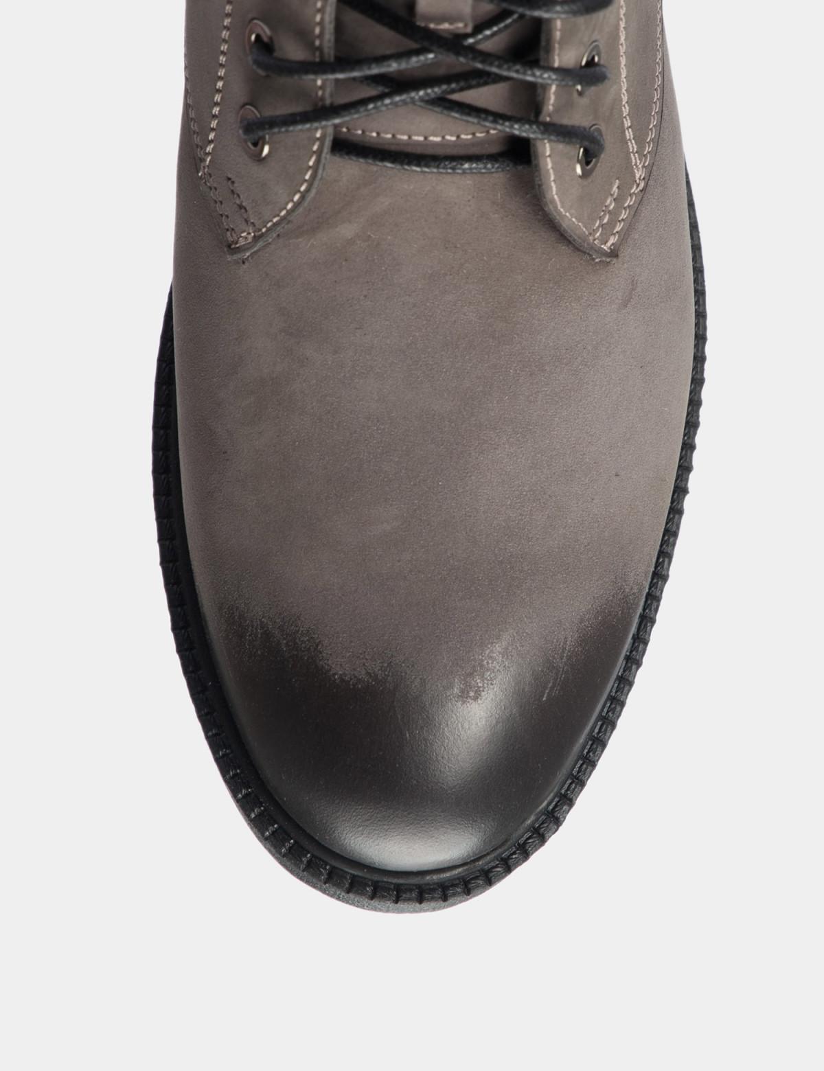Ботинки серые. Натуральный нубук. Байка3
