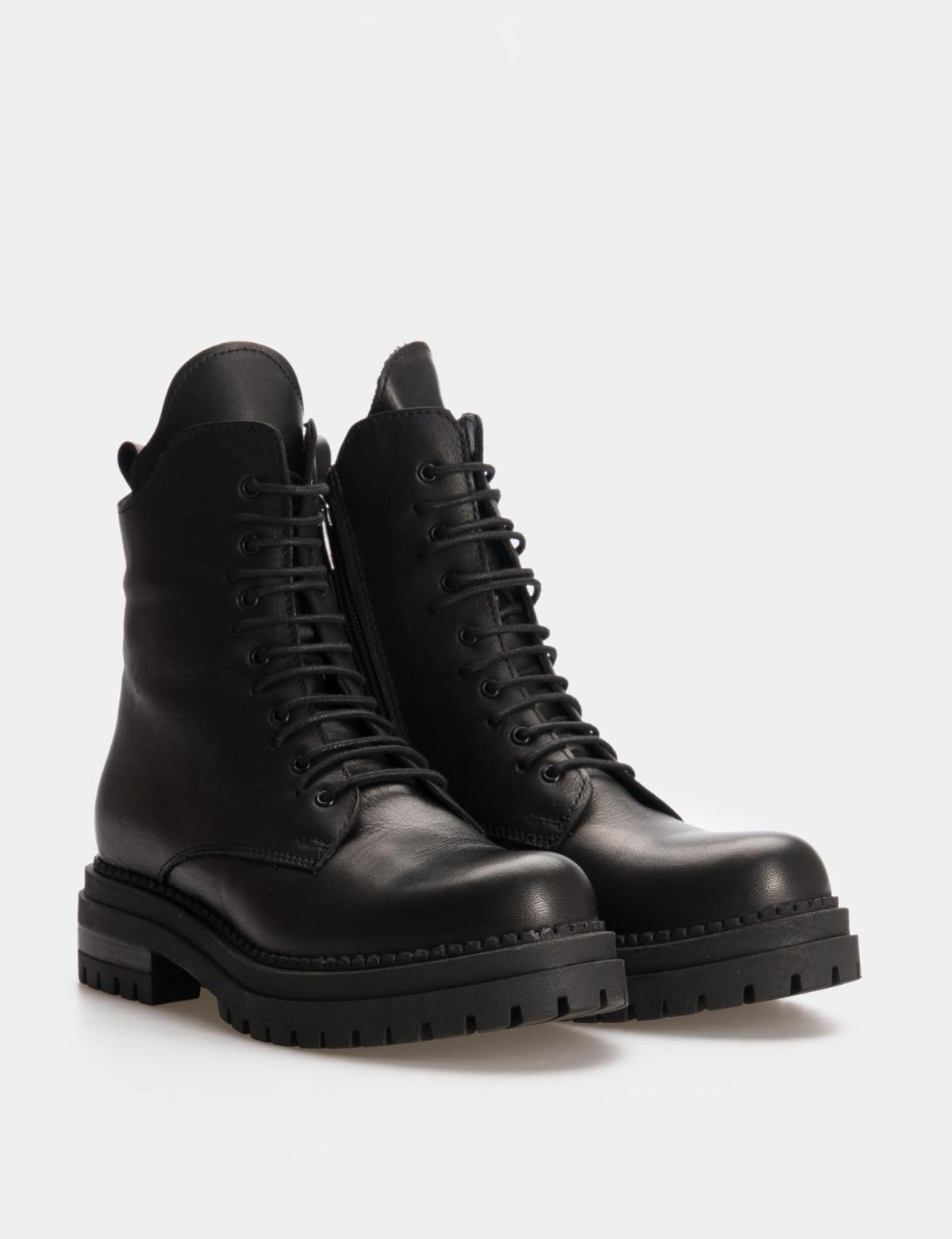 Ботинки черные. Натуральная кожа. Шерсть1