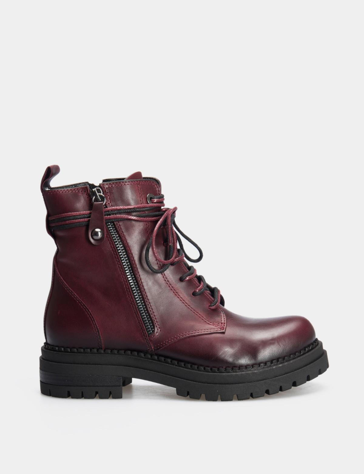 Ботинки бордовые. натуральная кожа.