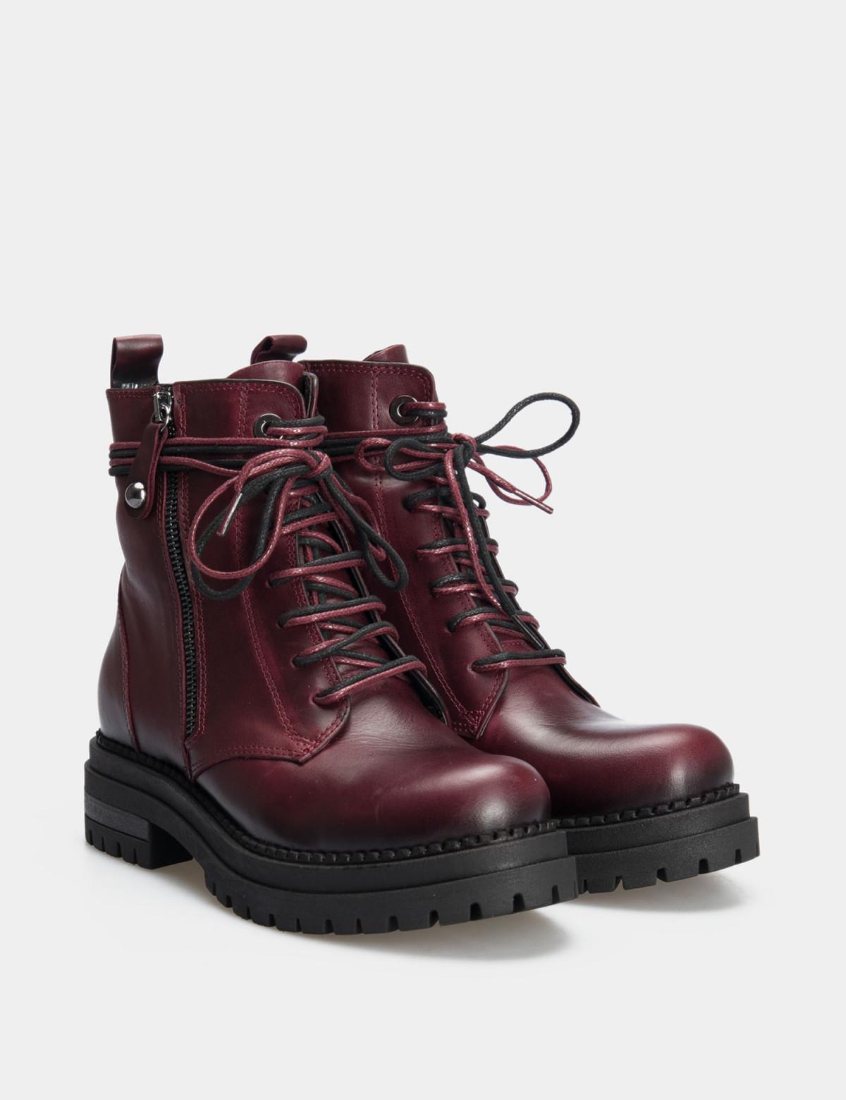 Ботинки бордовые. натуральная кожа. 1