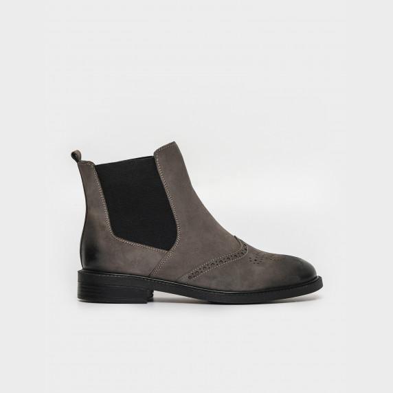 Ботинки серые. Натуральный нубук. Байка
