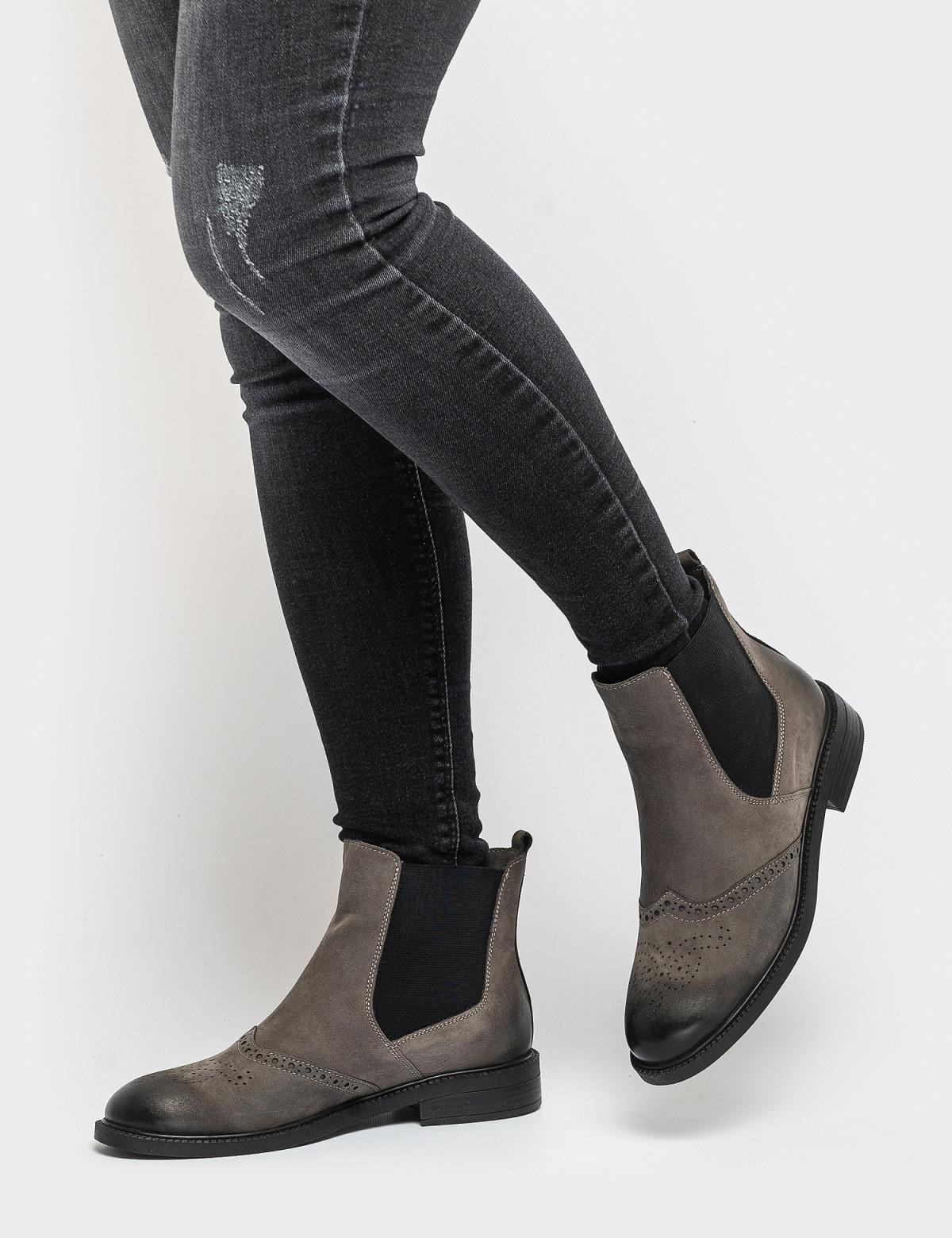 Ботинки серые. Натуральный нубук. Байка4