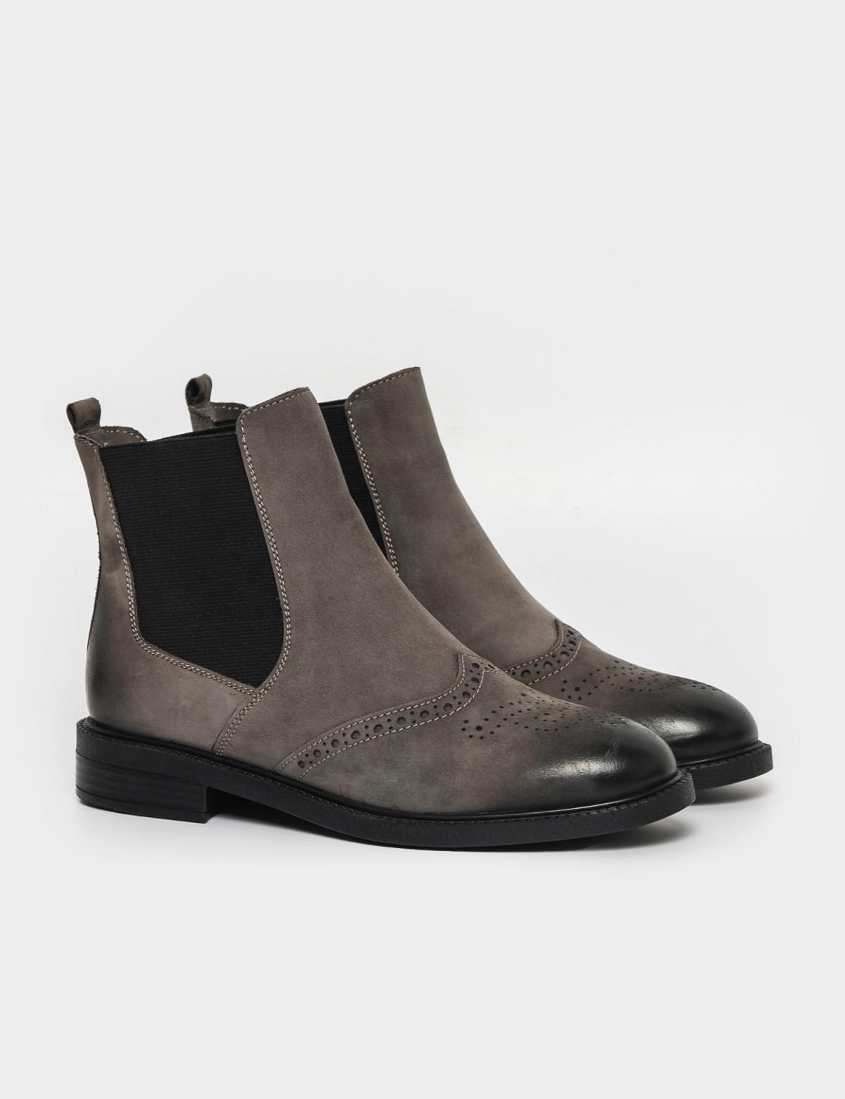 Ботинки серые. Натуральный нубук. Байка1