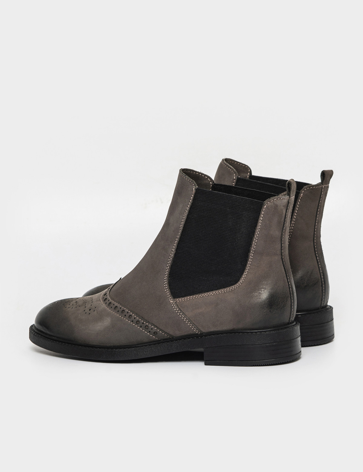 Ботинки серые. Натуральный нубук. Байка2