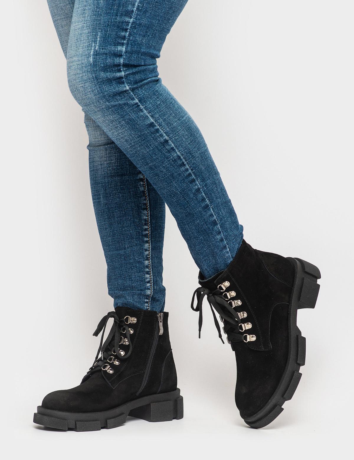 Ботинки черные. Натуральная замша. Байка4
