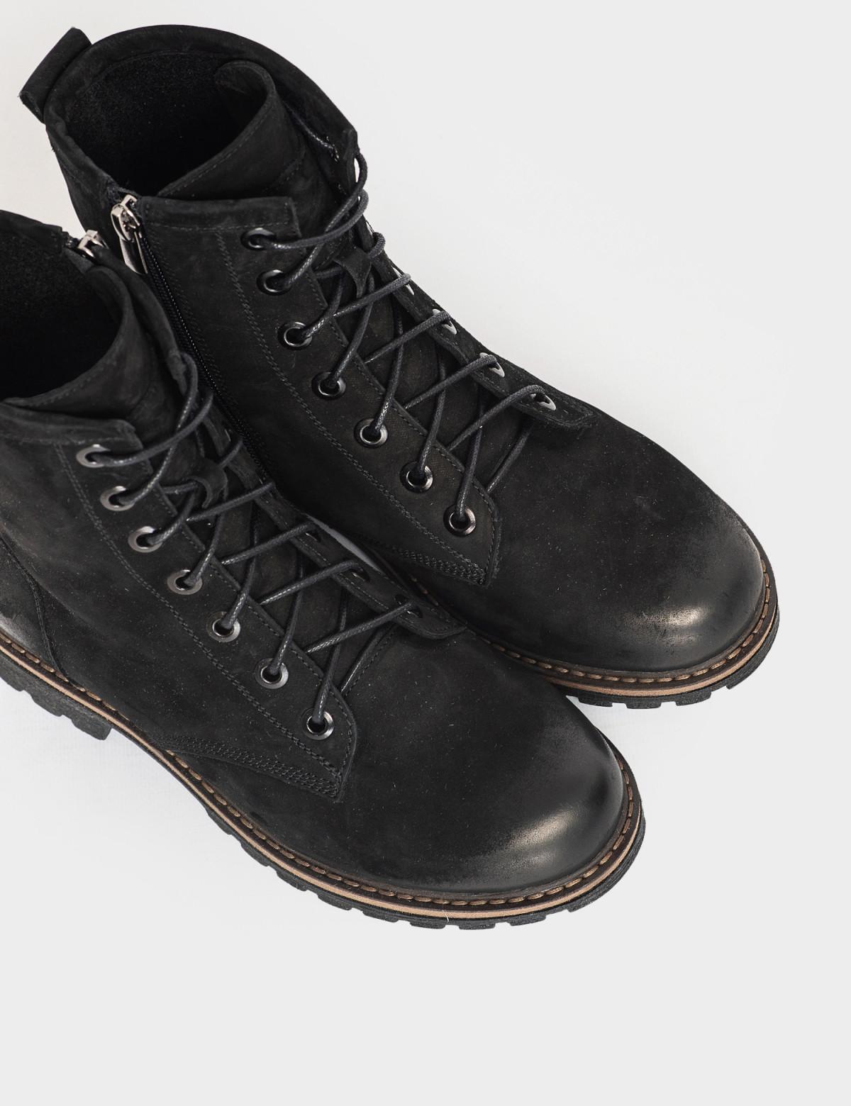 Ботинки черные. Натуральный нубук. Байка3