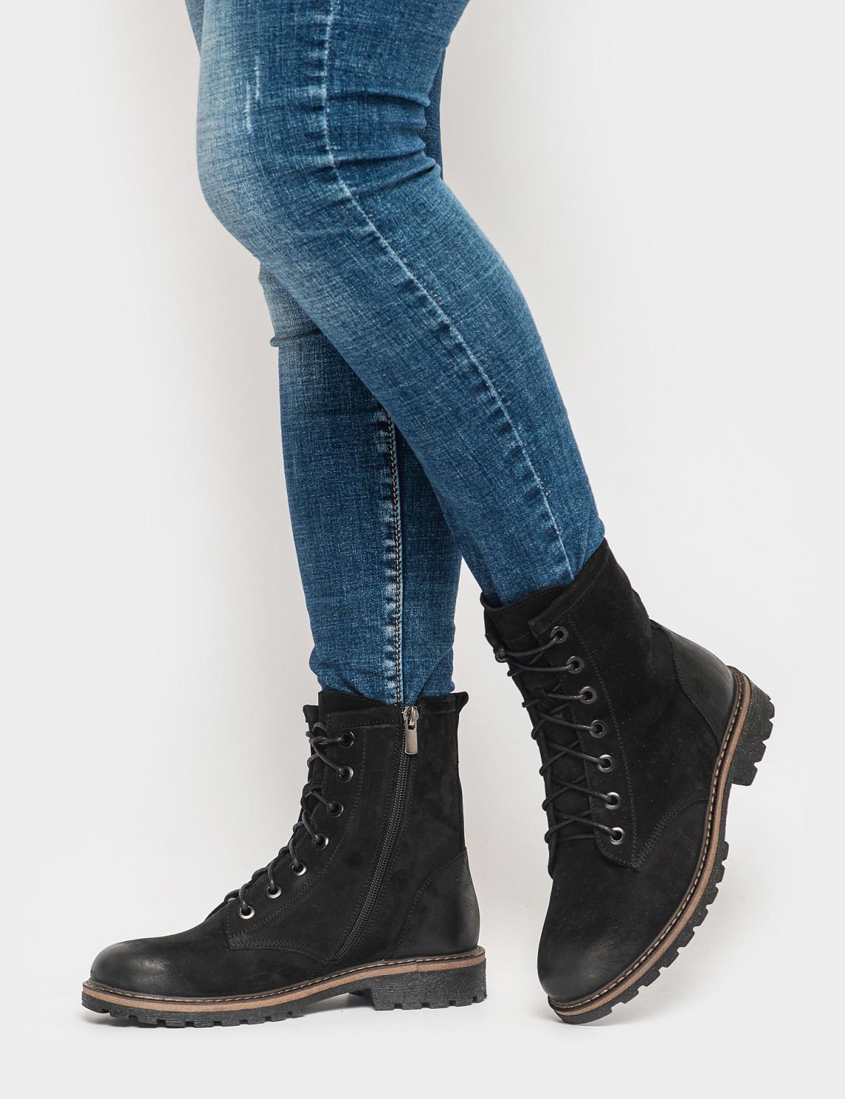 Ботинки черные. Натуральный нубук. Байка4