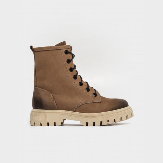 Ботинки бежевые. Натуральный нубук. Байка