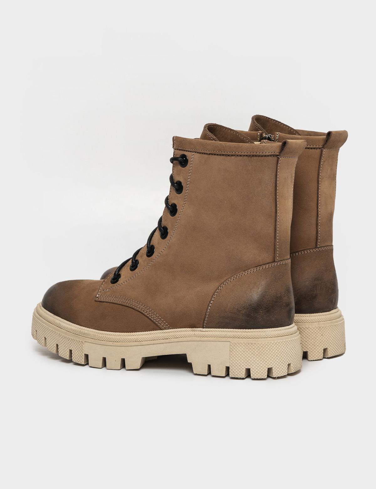 Ботинки бежевые. Натуральный нубук. Байка2