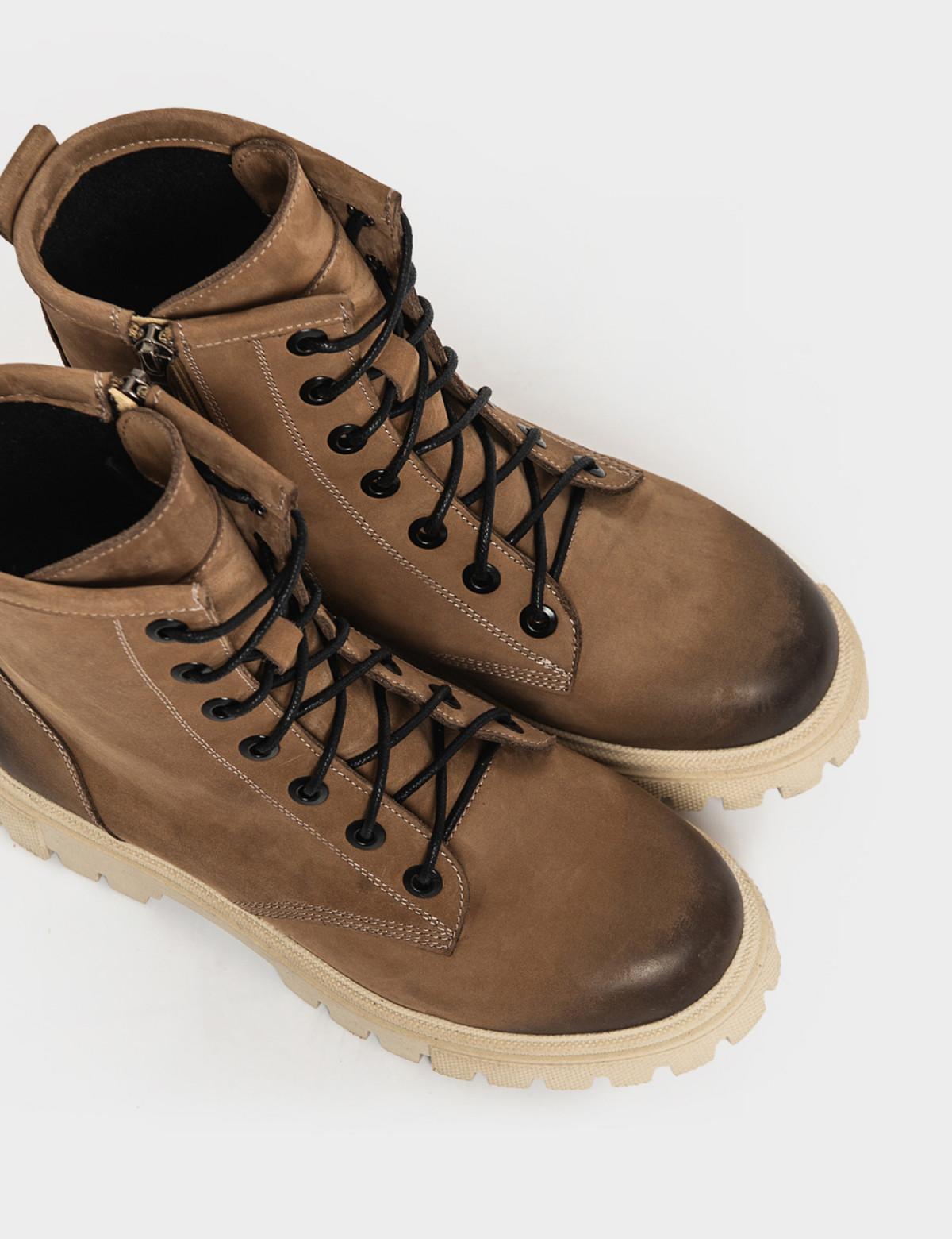 Ботинки бежевые. Натуральный нубук. Байка3