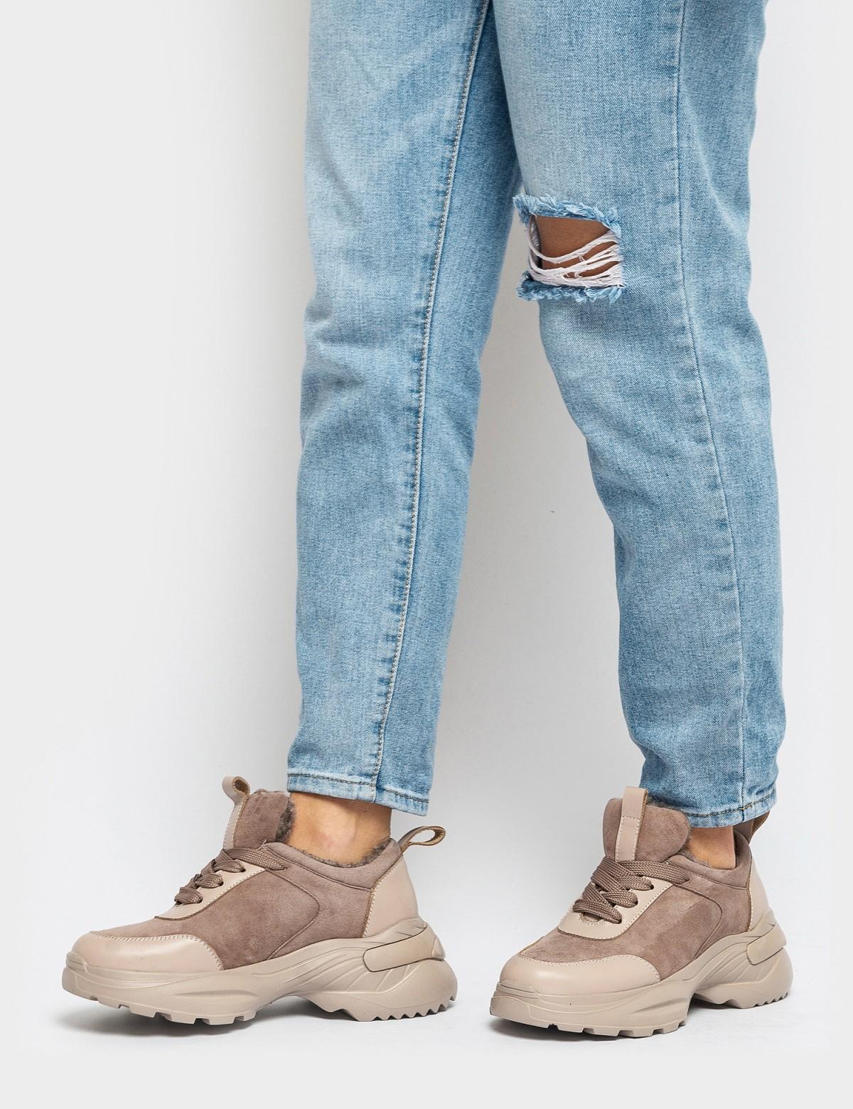 Кросівки бежеві. Натуральна замша/шкіра. Вовна4