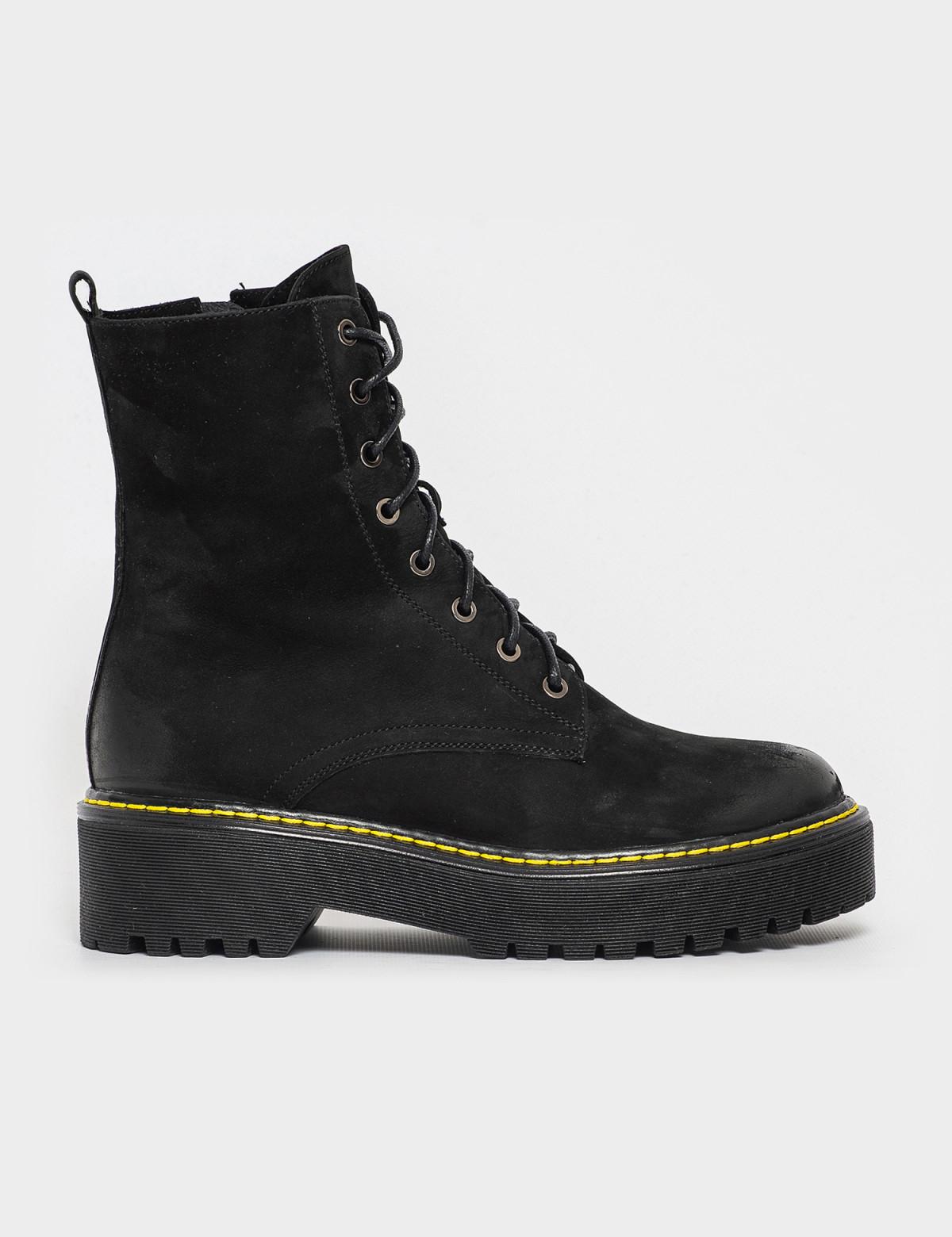 Ботинки черные. Натуральный нубук. Шерсть