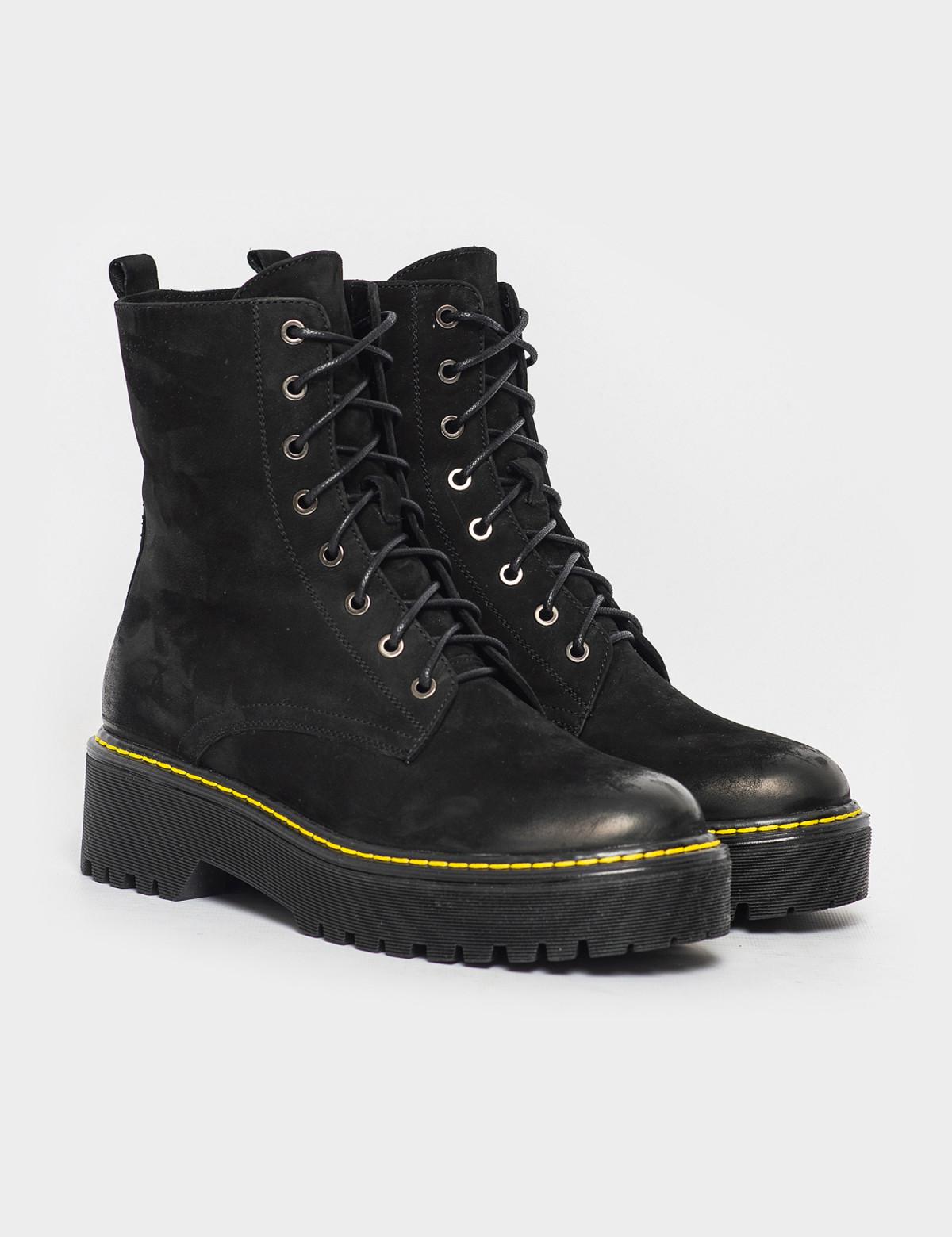 Ботинки черные. Натуральный нубук. Шерсть 1