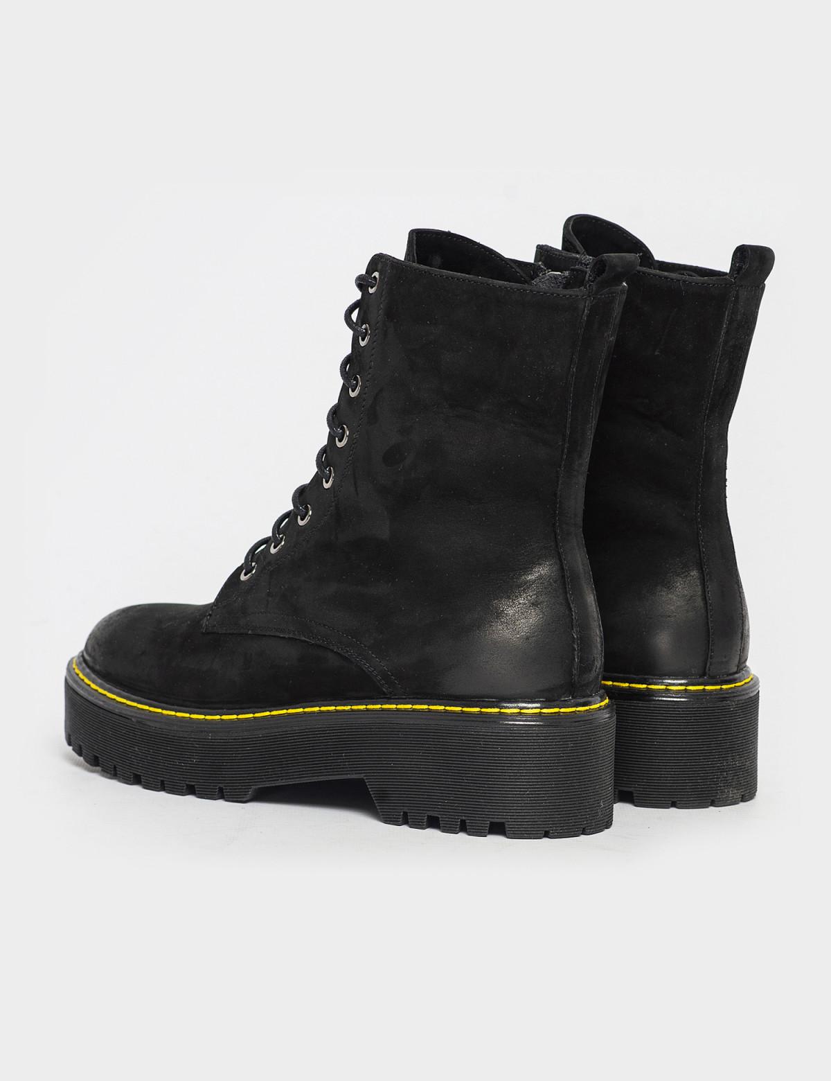 Ботинки черные. Натуральный нубук. Шерсть 2
