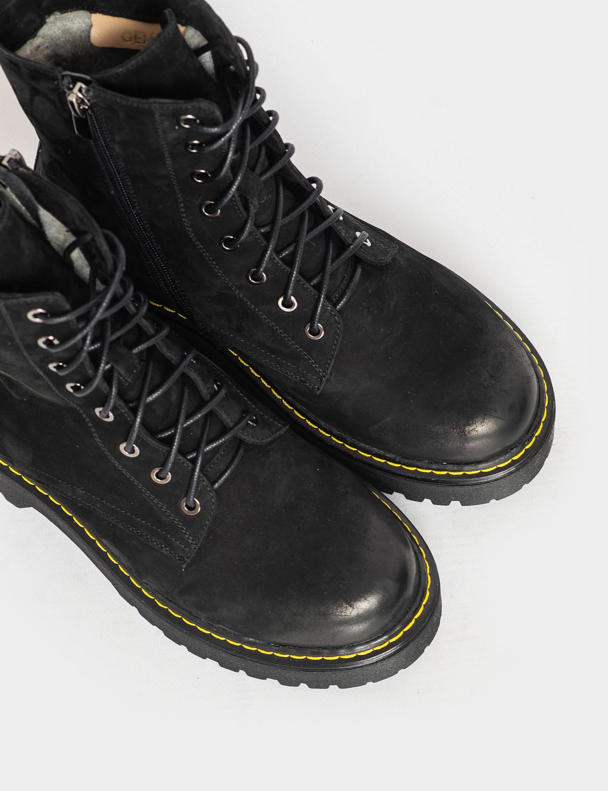 Ботинки черные. Натуральный нубук. Шерсть 3