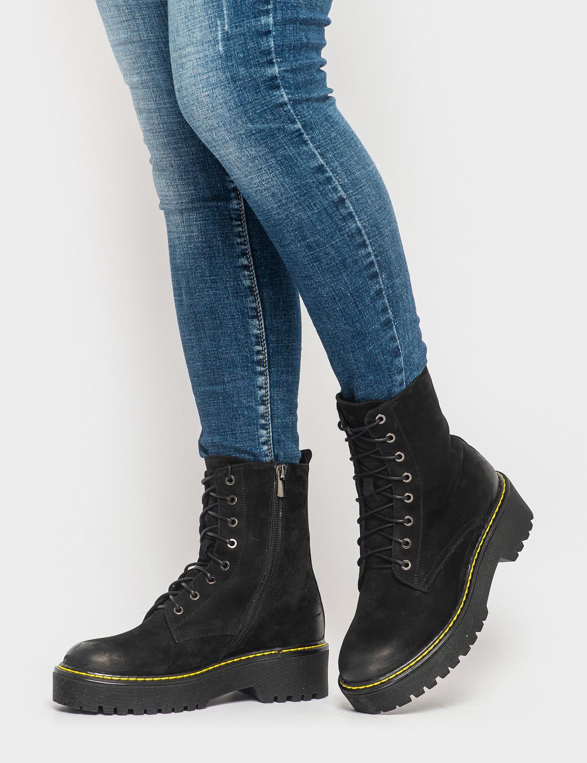 Ботинки черные. Натуральный нубук. Шерсть 4