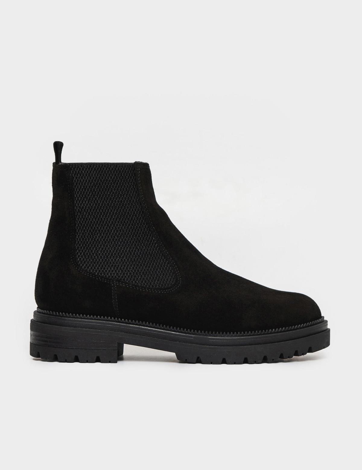 Ботинки черные. Натуральная замша. Байка