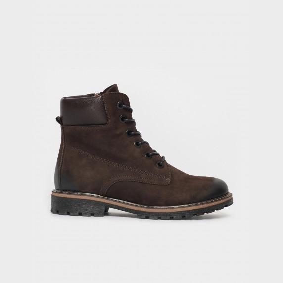 Ботинки коричневые, натуральная кожа/нубук. Байка