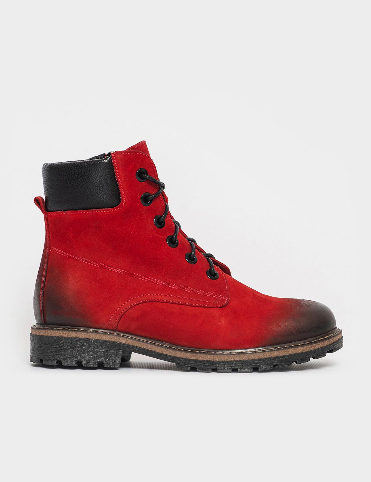 Ботинки красные. Натуральный нубук. Байка