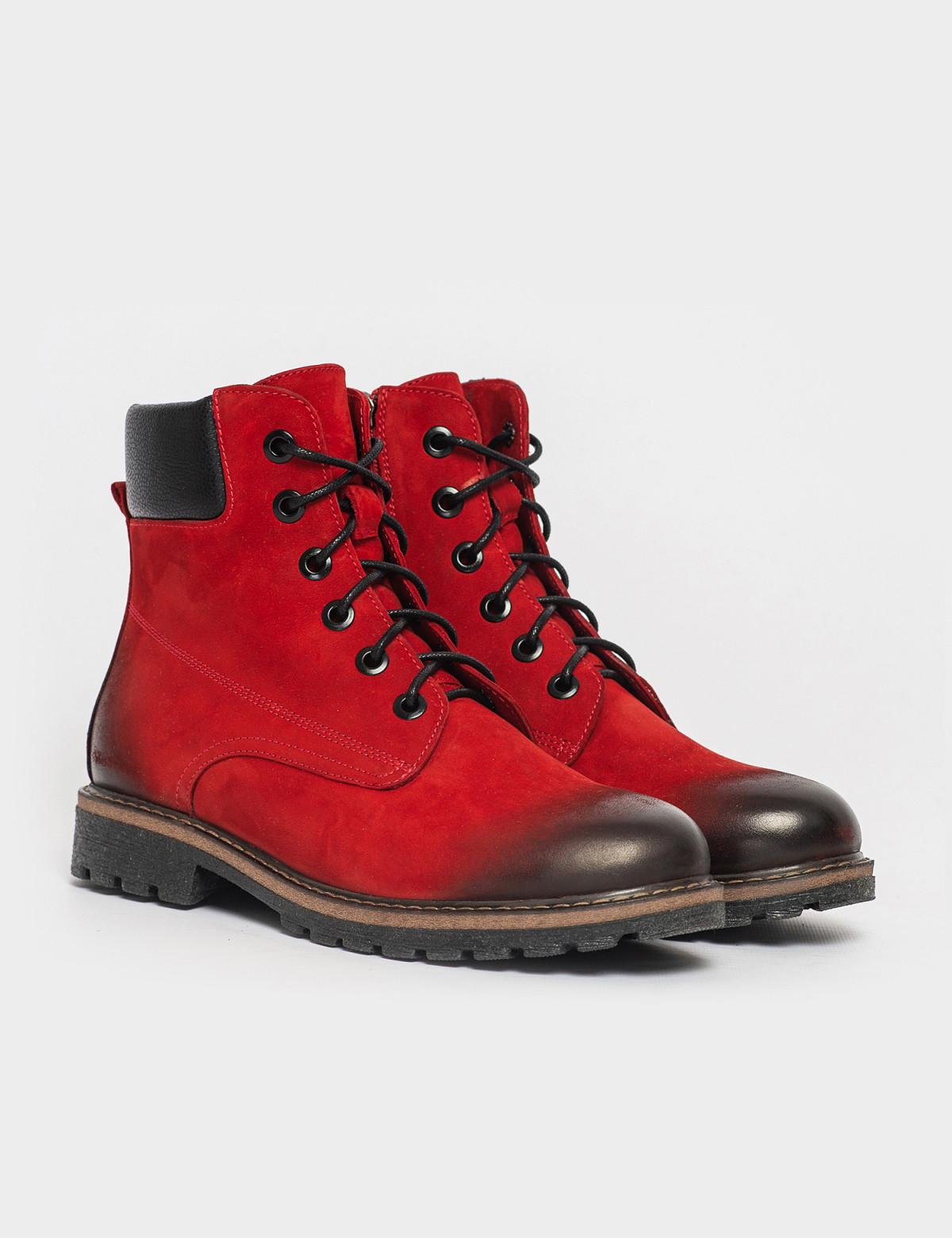 Ботинки красные. Натуральный нубук. Байка1