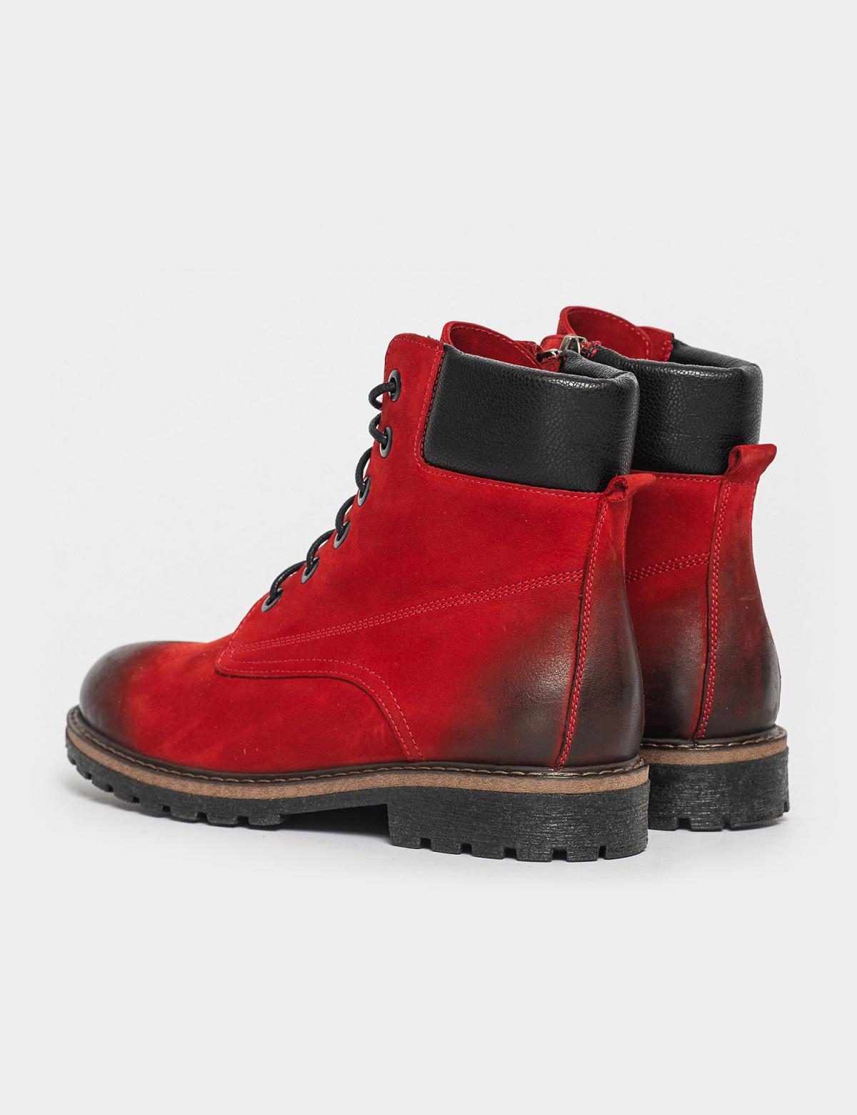 Ботинки красные. Натуральный нубук. Байка2