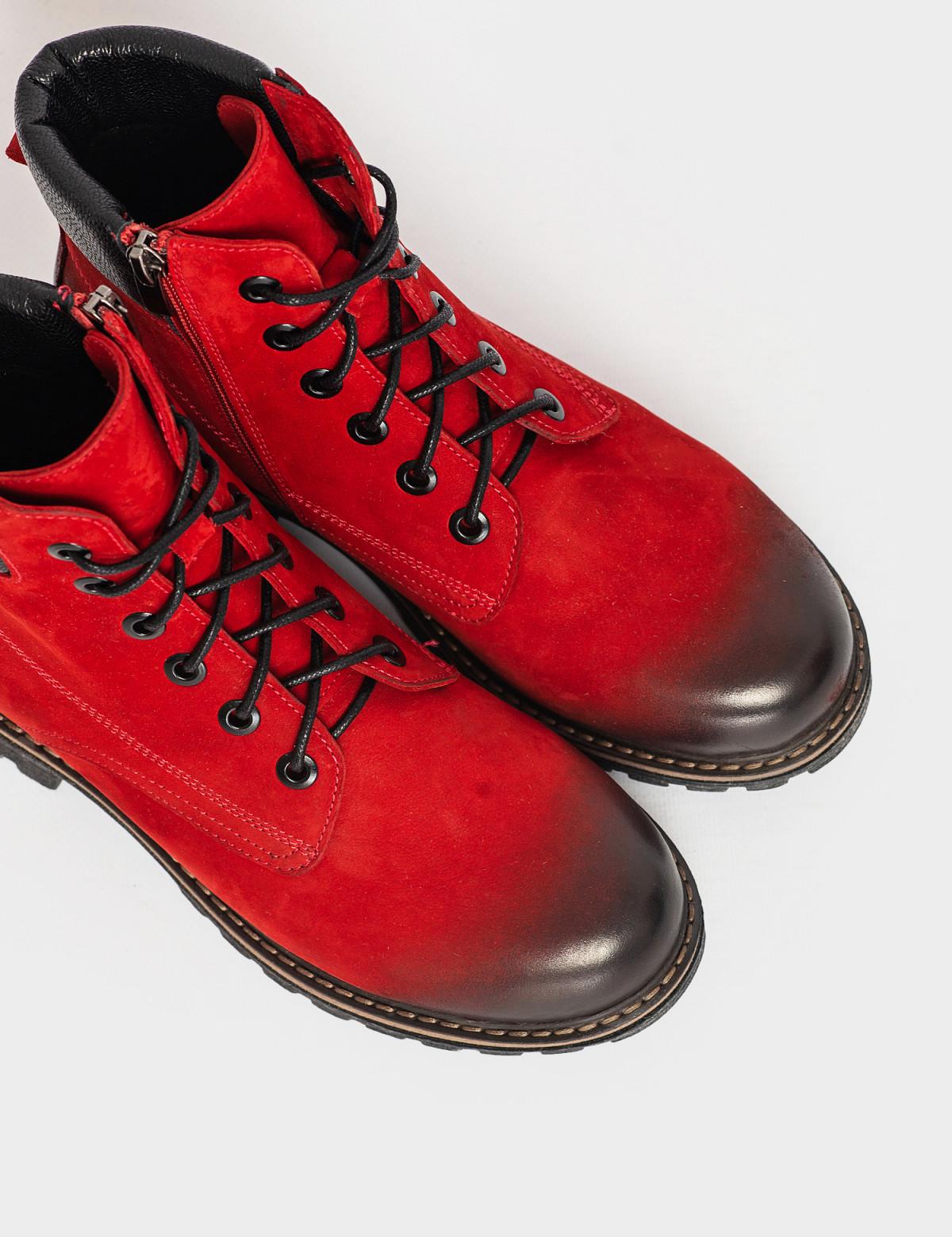 Ботинки красные. Натуральный нубук. Байка3