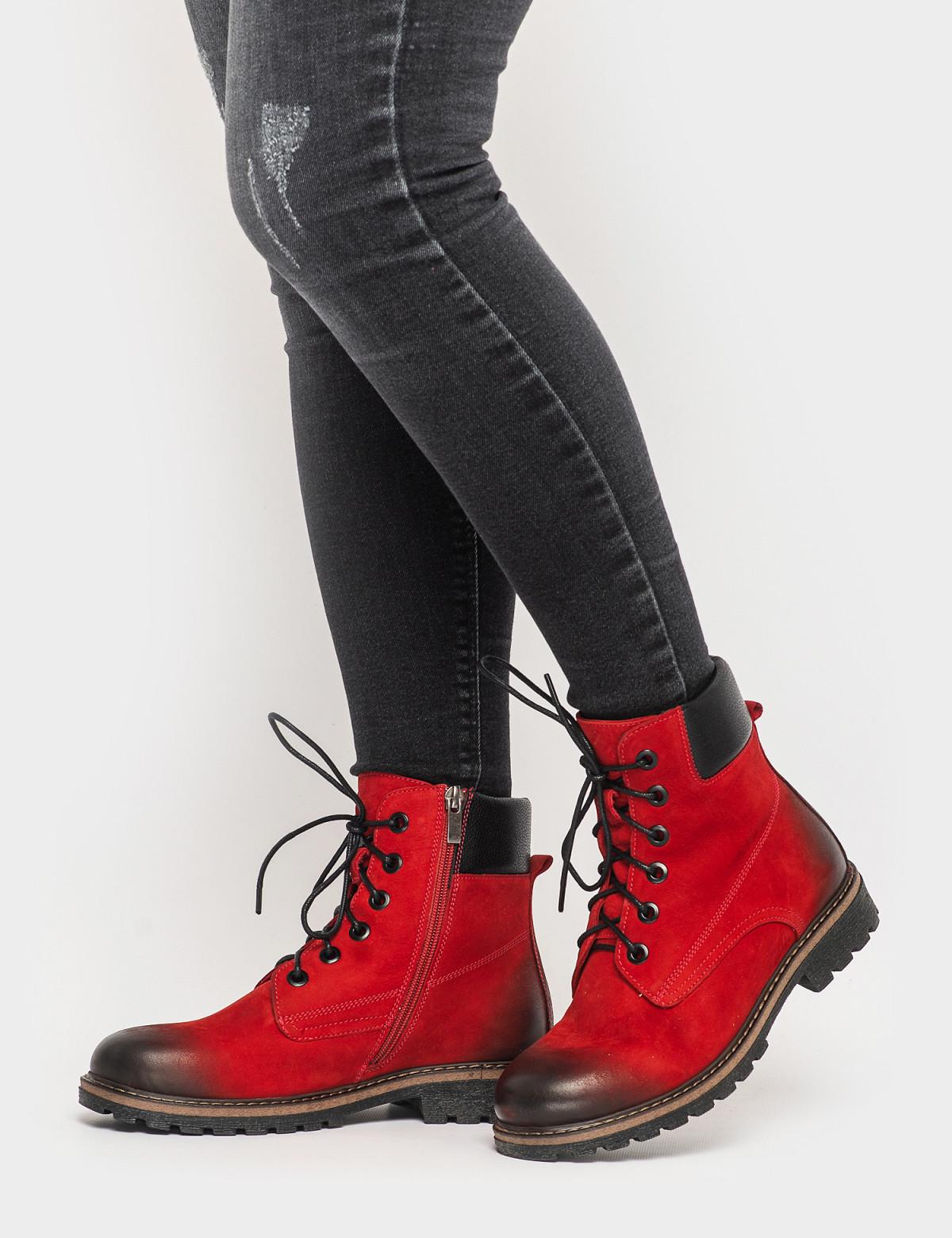 Ботинки красные. Натуральный нубук. Байка4