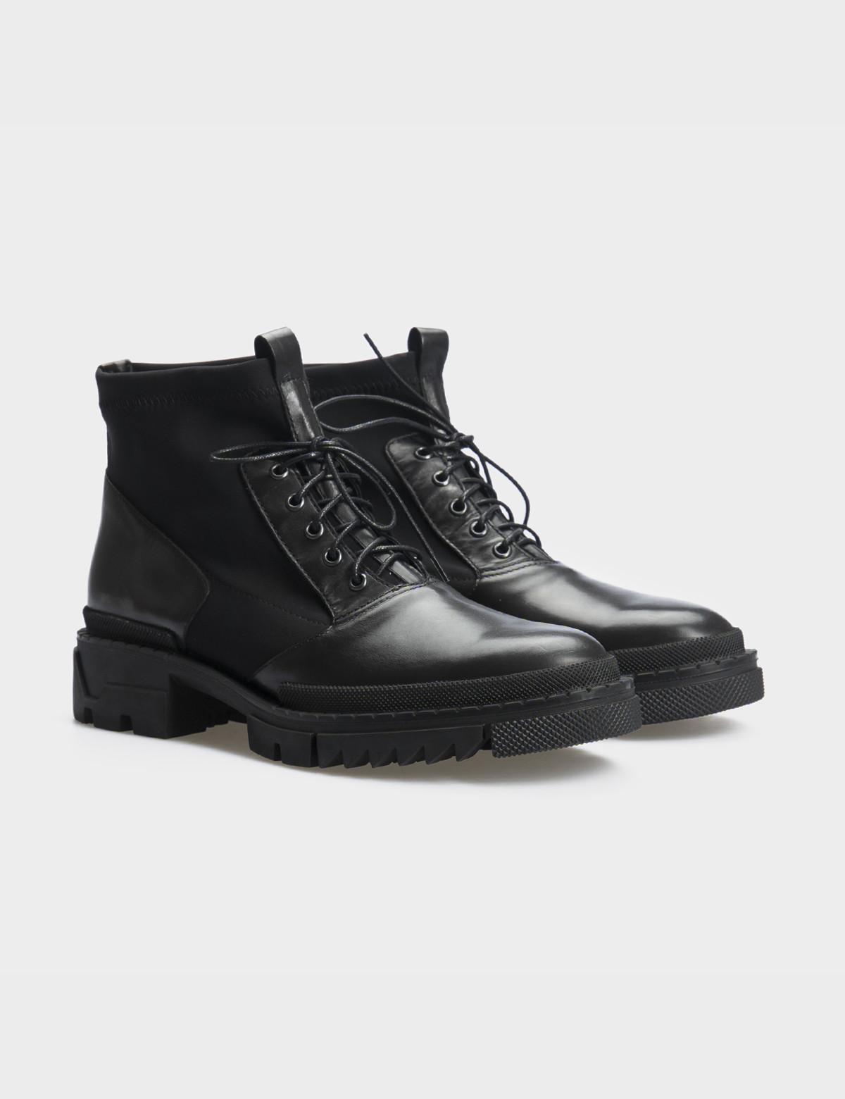 Ботинки черные, натуральная кожа/стрейч. Байка1