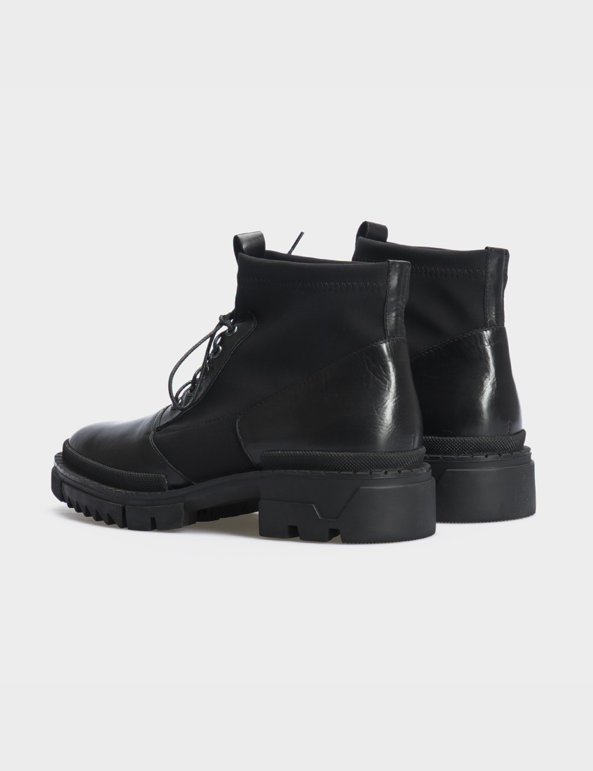 Ботинки черные, натуральная кожа/стрейч. Байка2