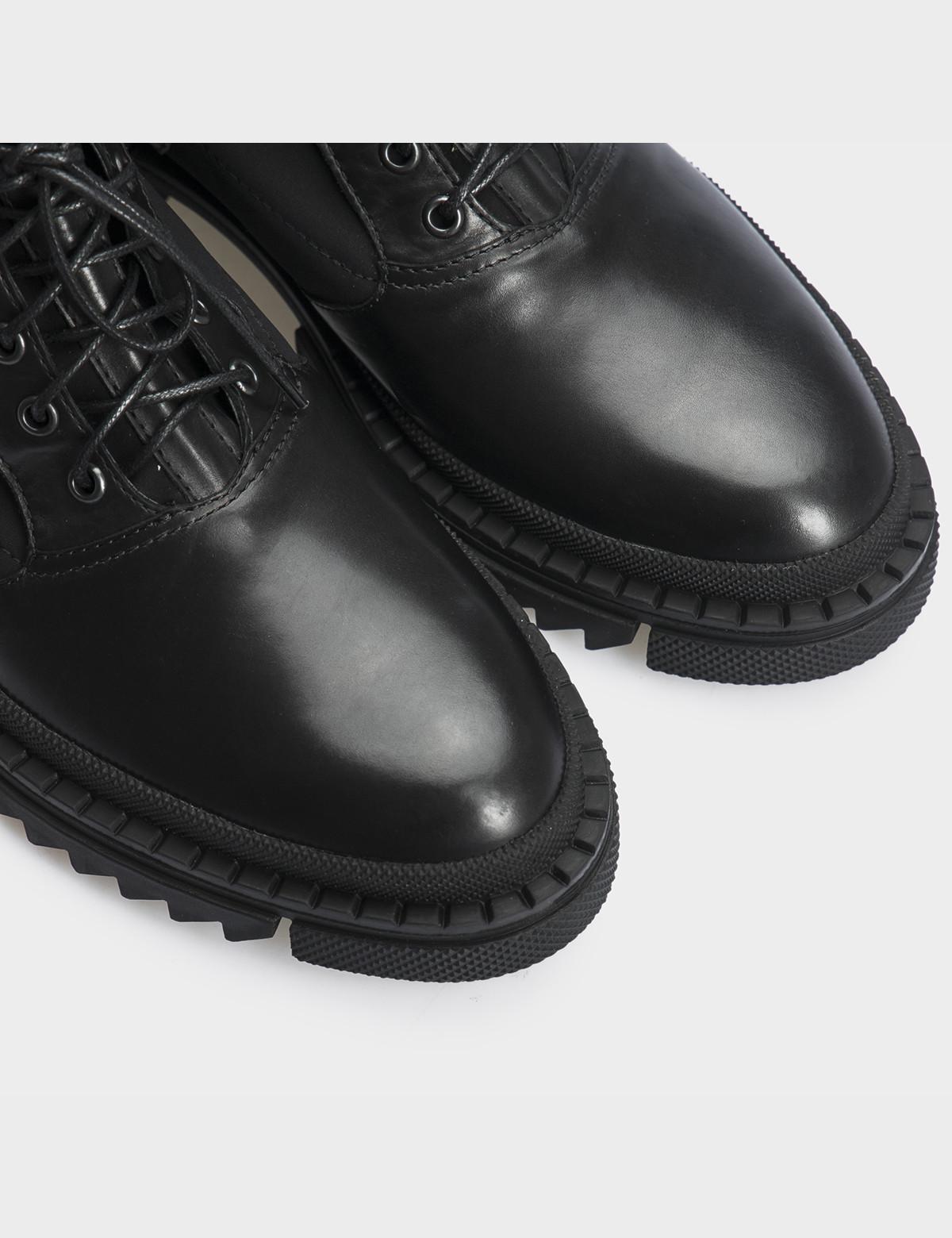 Ботинки черные, натуральная кожа/стрейч. Байка4