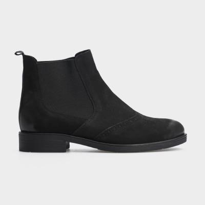 Ботинки черные, натуральный нубук. Байка