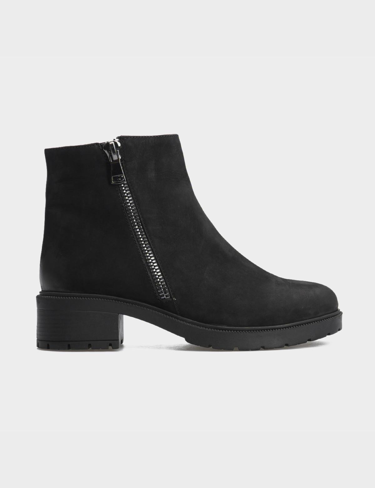 Ботинки черные натуральный нубук. Шерсть