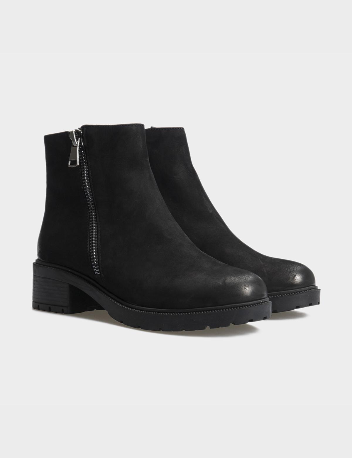 Ботинки черные натуральный нубук. Шерсть1