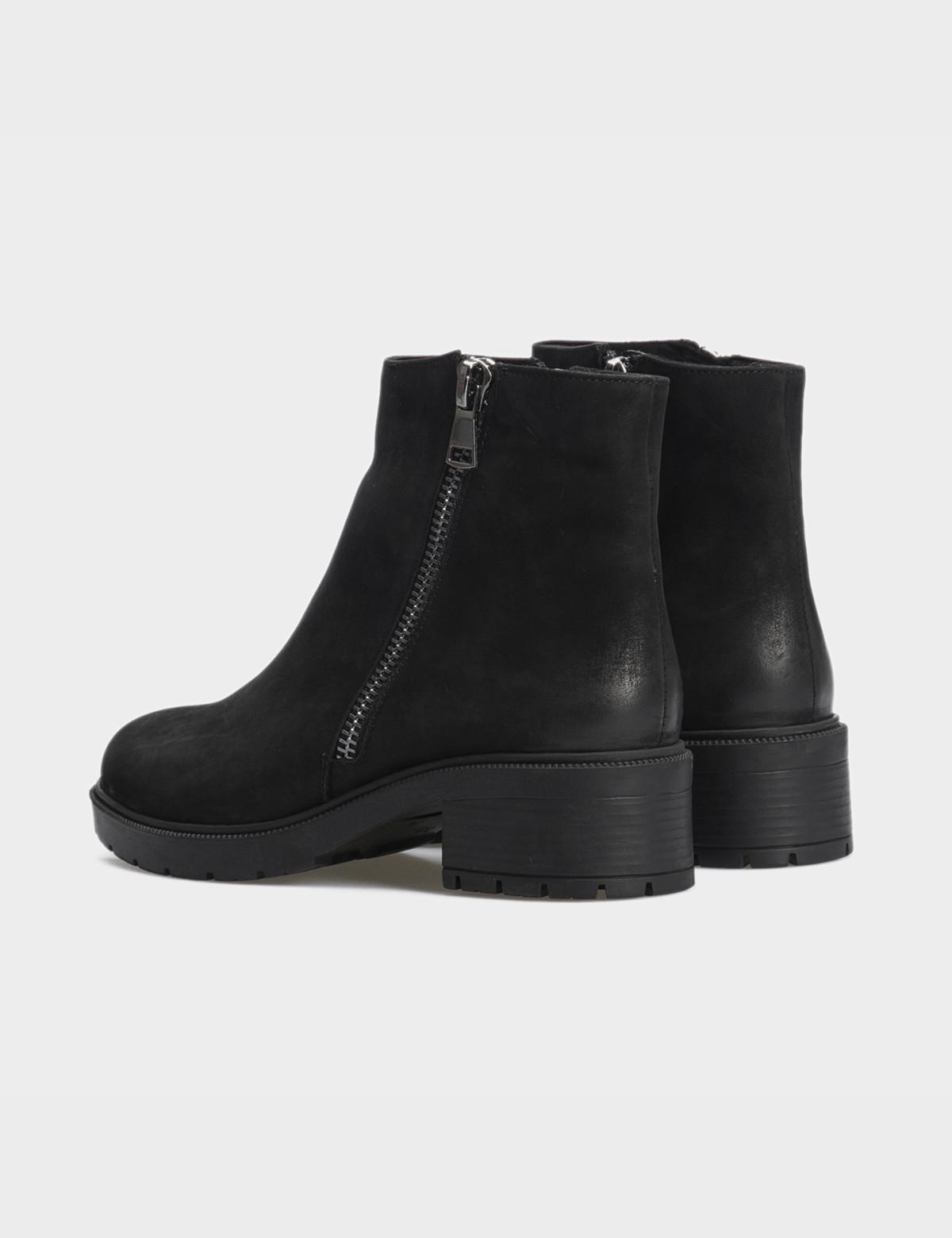 Ботинки черные натуральный нубук. Шерсть2