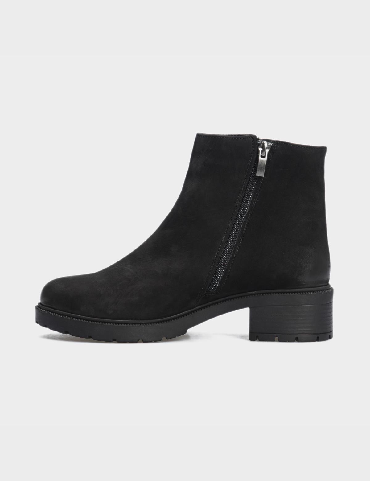 Ботинки черные натуральный нубук. Шерсть3