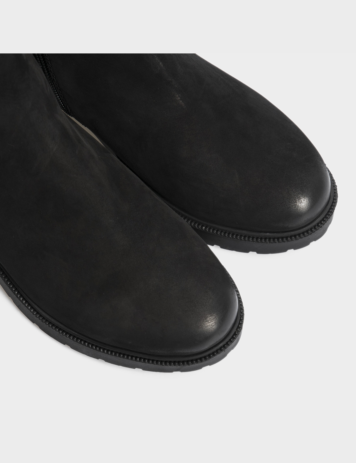 Ботинки черные натуральный нубук. Шерсть4