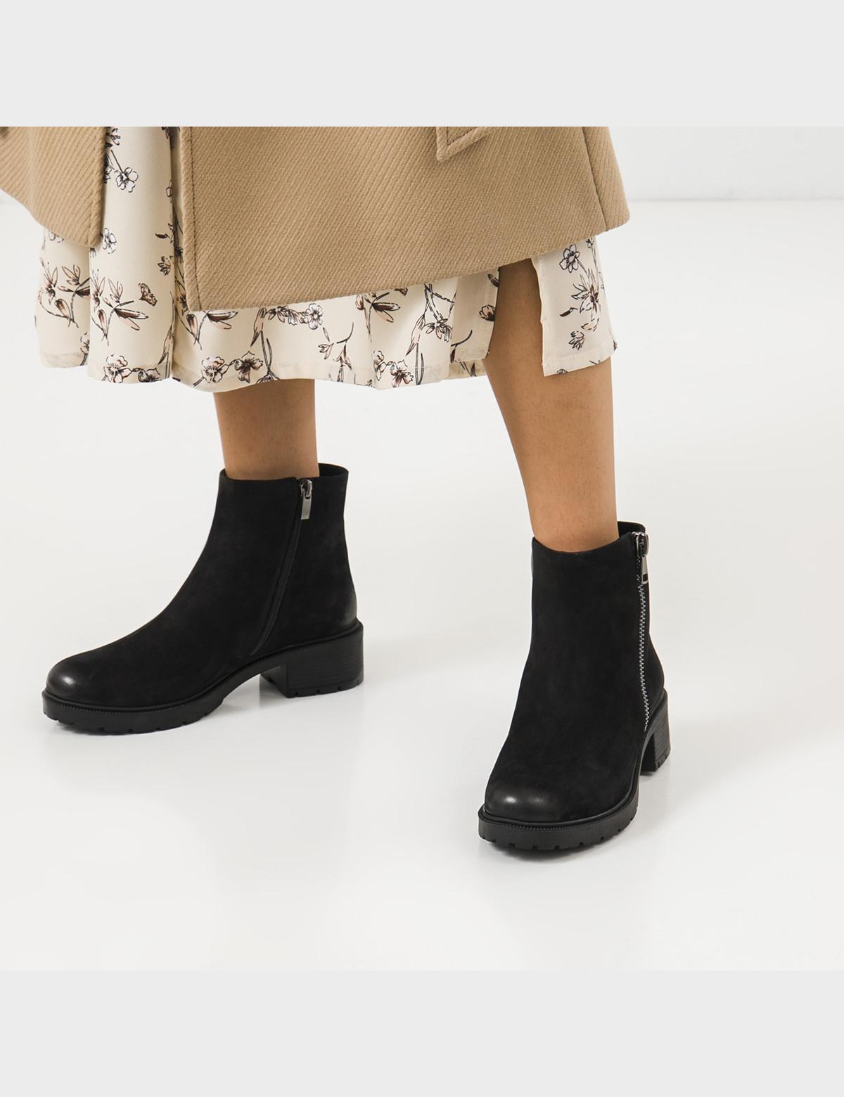 Ботинки черные натуральный нубук. Шерсть5
