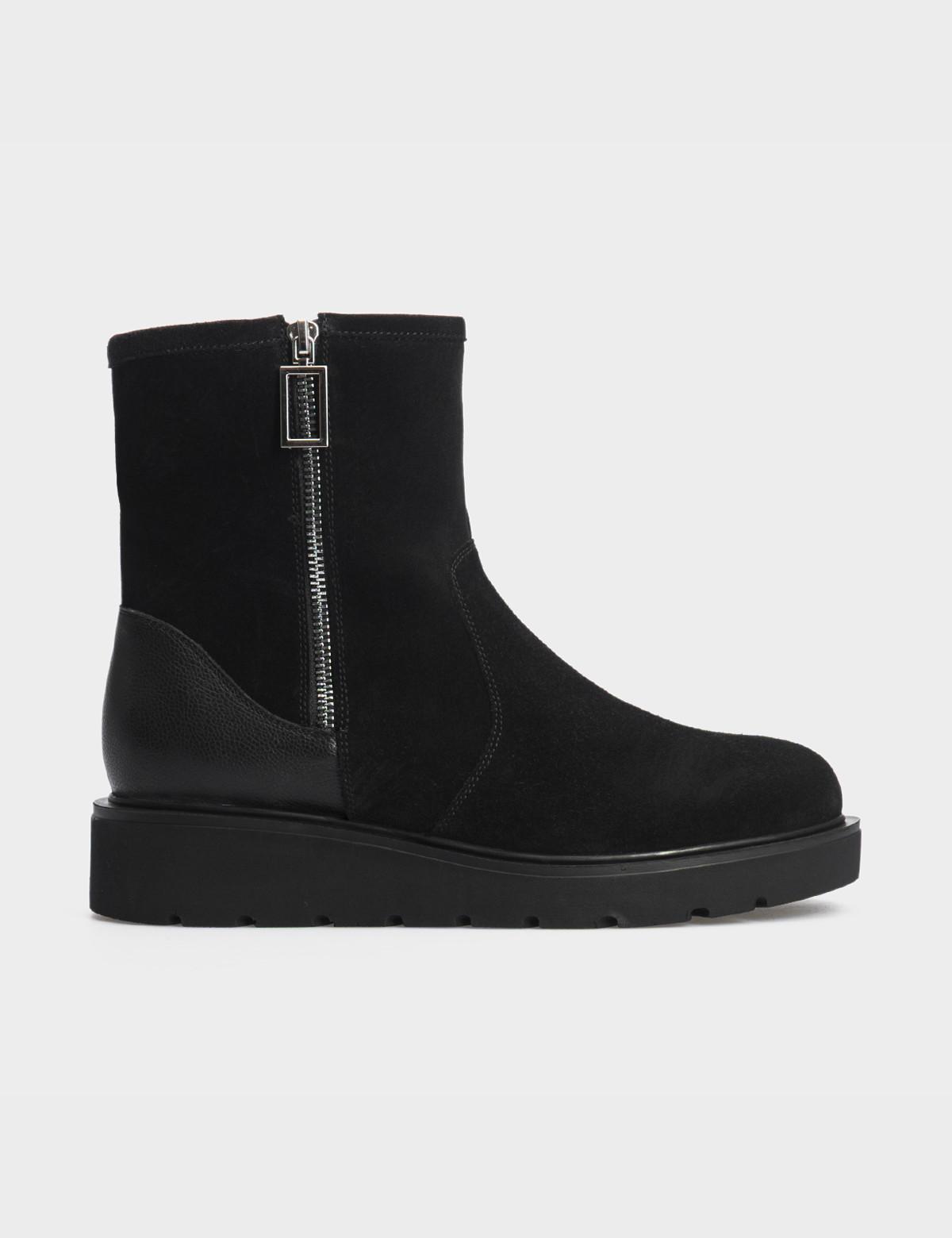 Ботинки черные натуральная замша/кожа. Шерсть