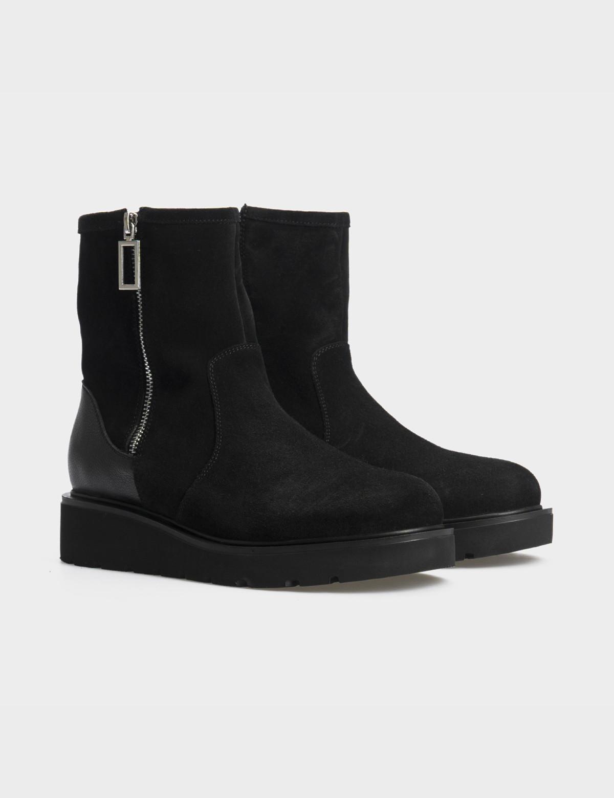 Ботинки черные натуральная замша/кожа. Шерсть1