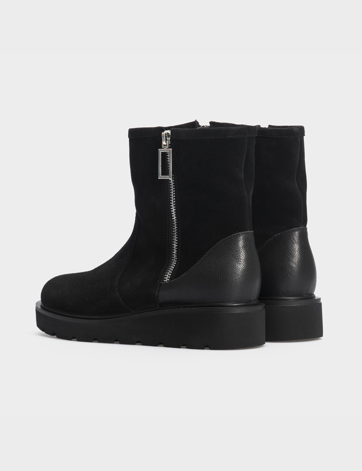 Ботинки черные натуральная замша/кожа. Шерсть2