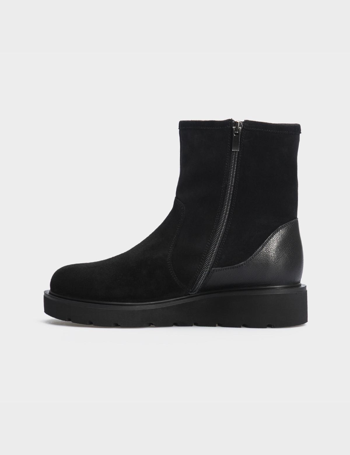 Ботинки черные натуральная замша/кожа. Шерсть3