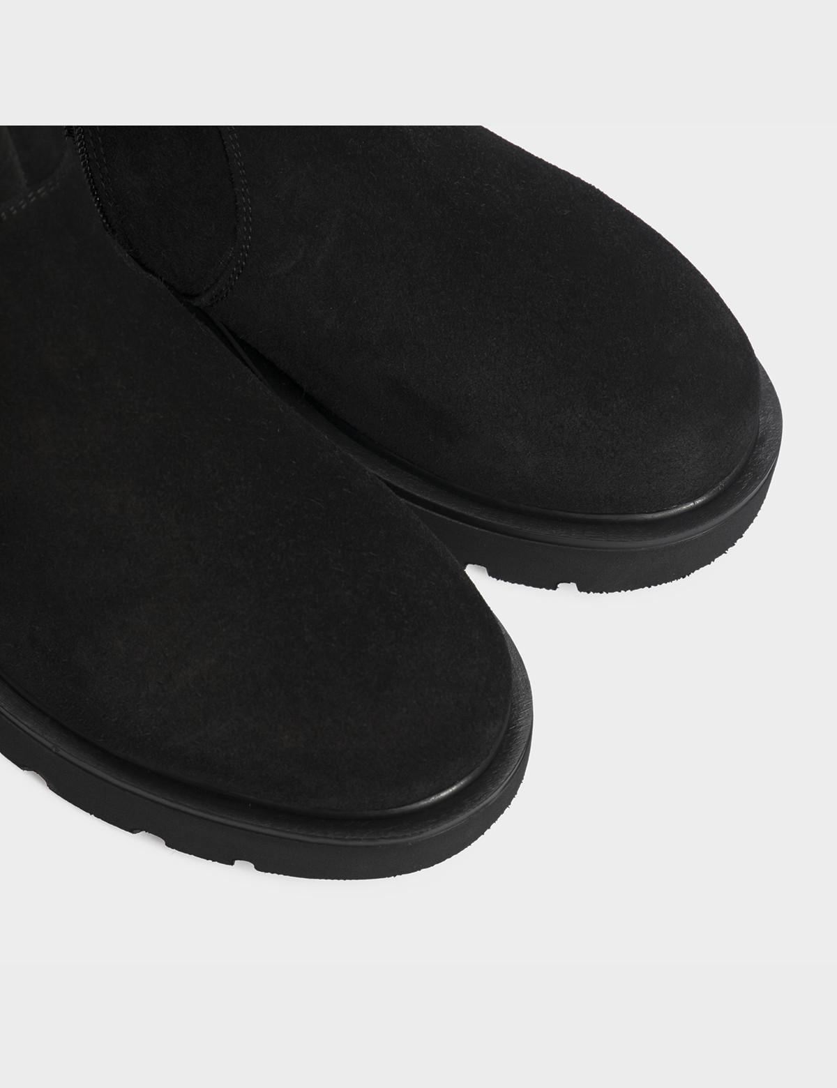 Ботинки черные натуральная замша/кожа. Шерсть4