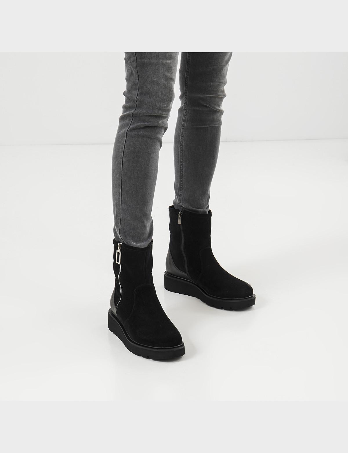 Ботинки черные натуральная замша/кожа. Шерсть5