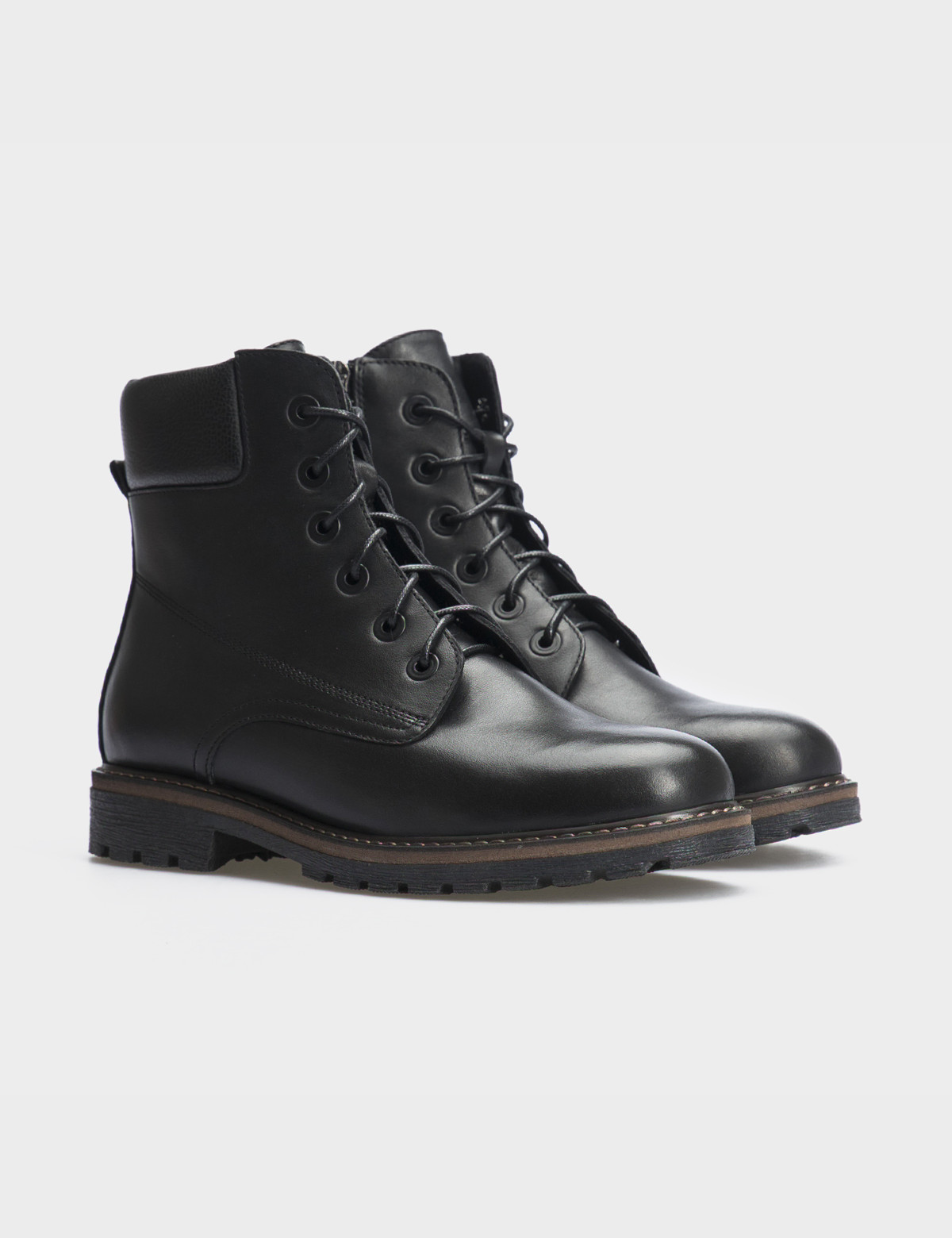 Ботинки черные натуральная кожа. Шерсть1