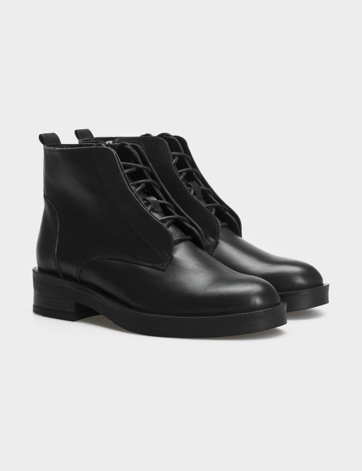 Ботинки черные натуральная кожа. Шерсть 1